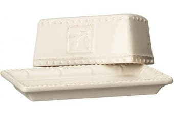 (Ivory) - Signature Housewares Sorrento Collection Butter Dish, Ivory Antiqued Finish
