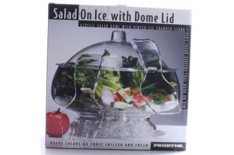 (Dome Lid) - Prodyne AB-3-D Salad On Ice with Dome Lid - Acrylic Salad Bowl and Servers