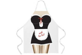 (French Maid) - Attitude Aprons Fully Adjustable French Maid Apron, White, One Size Fits Most