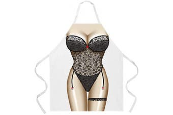 (Black Lingerie) - Attitude Aprons Fully Adjustable Black Lingerie Apron, White, One Size Fits Most