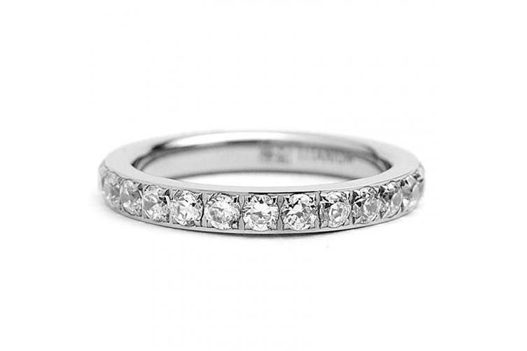(5) - 3MM Ladies Titanium Eternity Engagement Band, Wedding Ring with Pave Set Cubic Zirconia Size 4 to 9