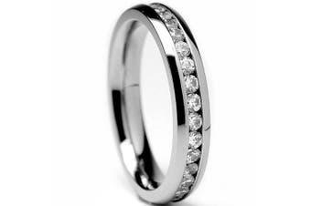 (5) - 4MM High Polish Ladies Eternity Titanium Ring Wedding Band with Cubic Zirconia CZ Sizes 4 to 9