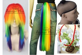 (Wig+Ponytail) - Free Hair Cap+ for Kids and Adults My Little Pony Rainbow Dash Cosplay Costume Wig Tail Ponytail Multi Colour Synthetic Party Wig Tail Cosplay Convention Event Wigs