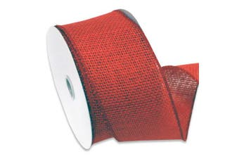 (6.4cm , 10-yard, Rose Red) - Morex Ribbon Burlap Wired Ribbon, 6.4cm x 10 Yd, Rose Red