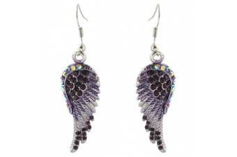 Angel Wing Purple Austrian Crystal Hook Earrings Silver-Tone N01064-6