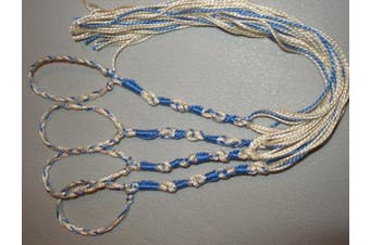 (Sky Blue) - Tangled loops Tzitzits (Set of Four) White with Blue Thread - Tassels ( with Longer Blue Messiah Thread ) (Sky Blue)
