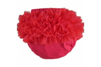 (XL(18-24month), Red) - Buenos Ninos Baby Girl's Cotton Shorts and Briefs Chiffon Ruffle Bloomers