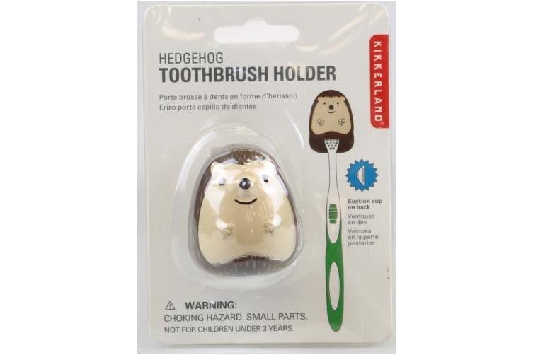 Kikkerland ABS Vinyl Phthalate-Free Hedgehog Toothbrush Holder, Grey