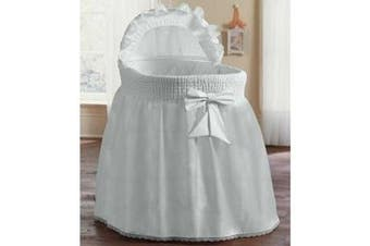 (17x31, White) - BabyDoll Bedding Precious Bassinet Liner/Skirt & Hood, White, 43cm L x 80cm W