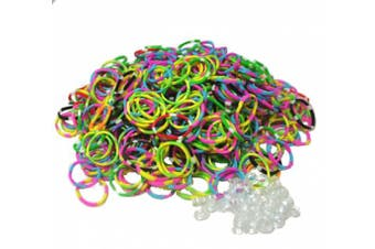 BlueDot Trading 600-Piece Do-It-Yourself Bracelet Kit Refill Pack, Includes Rubber Band and S-Clips for Loom Art/Kids Craft with Rainbow, Tie-Dye