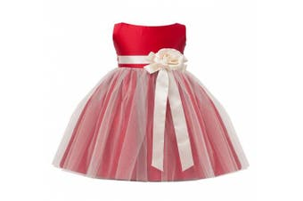 (X-Large / 24 Months, Red) - Sweet Kids Baby-Girls Vintage Satin and Tulle Flower Girl Pageant Dress