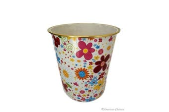 Bathroom/kids Room 23cm Retro Flower Plastic Waste Basket Trash Can Garbage Bin