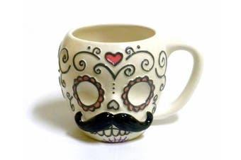 Day of the Dead Sugar Skull with Moustache Ceramic Coffee Mug