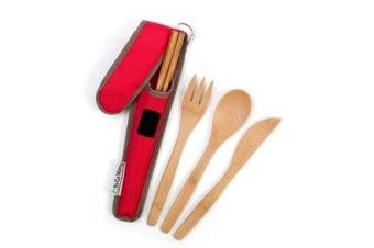 (Cayenne Cover) - To-Go Ware RePEaT Bamboo Utensil Set with Recycled PET Carrycase, in Cayenne Cover