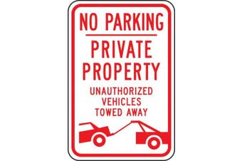 """Accuform Signs FRP151RA Engineer Grade Reflective Aluminium Parking Restriction Sign, Legend """"NO PARKING PRIVATE PROPERTY unauthorised VEHICLES TOWED AWAY"""" with Graphic, 30cm Width x 46cm Length x 0.2cm Thickness, Red on White"""