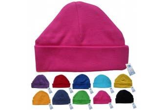 (Hot Pink) - Newborn Baby Beanie Hat s (HOT PINK) - Plain Soft 100% Cotton headwear New Baby Grow Boy Clothing Girl Cute Mum Dad Mummy Daddy Custom Parent Birth Gift bib Present by Fonfella
