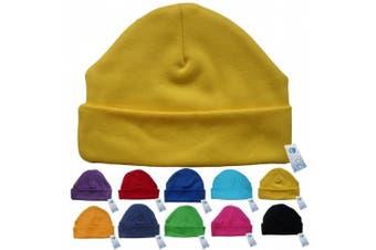 (Yellow) - Newborn Baby Beanie Hat s (YELLOW) - Plain Soft 100% Cotton headwear New Baby Grow Boy Clothing Girl Cute Mum Dad Mummy Daddy Custom Parent Birth Gift bib Present by Fonfella