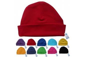 (Red) - Newborn Baby Beanie Hat s (RED) - Plain Soft 100% Cotton headwear New Baby Grow Boy Clothing Girl Cute Mum Dad Mummy Daddy Custom Parent Birth Gift bib Present by Fonfella