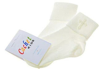 (0-2.5 (3 months - 12 months)) - Baby boys christening socks with a cross - ivory -size 0-2.5