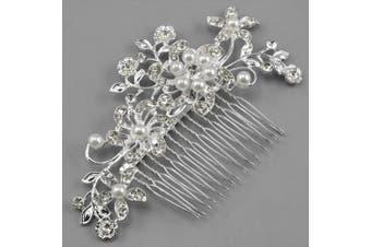 (silver) - Caltrad Bridal Silver Diamante Hair Comb Clip for Wedding/Party/Prom