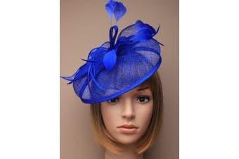 Beautiful Large Royal Blue Hatinator Hat with slanted band Bridal. Races, Ladies Day
