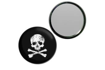 (77mm) - Distressed Skull and Crossbones - 77mm Round Compact Mirror