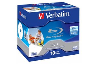 Verbatim Blu-Ray Laser Disc BD-R 25Gb 6X Jewel Inkjet Printable Pack of 10 43713