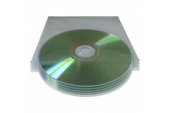 50x 80 Micron Clear Plastic CD/DVD Sleeves With Flaps