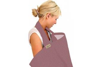BebeChic * 100% Cotton * Breastfeeding Cover *105cm x 69cm* Boned Nursing Apron - with drawstring Storage Bag - plum / ivory dot