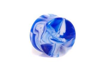 (16.0 millimeters) - Blue Banana Body Piercing - Blue Marble Acrylic 10-20mm Flesh Tunnel Ear Plug Expanders Stretcher