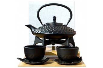 Star Trivet Leaf Cups & Tetsubin Japanese style Cast Iron black Big Hobnail tea pot kettle 0.8L