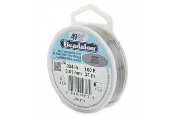 Beadalon 49-Strand Bead Stringing Wire, 0.06cm , Bright, 30m