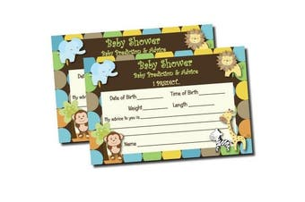 Baby Shower Advice & Prediction Cards for Mom King of Jungle Animal Themed Games (50-cards)