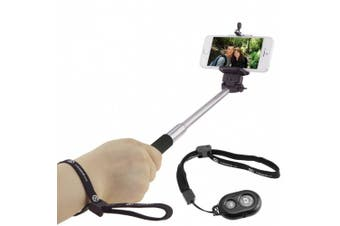 (Black with Remote) - Extendable Selfie Stick with Bluetooth Remote by CamKix® - With Universal Phone Holder Suitable for iPhone, Samsung, and Other Devices up to 8.3cm in Width - Fully Adjustable Handheld Monopod 28cm - 100cm - Light, Compact, and Easy