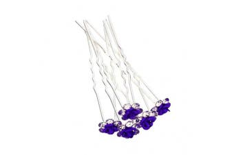 (10pc, Purple) - 5/10/20/50pcs Crystal Rose Flower Wedding Party Prom Bridal Hair Pin Clips Multi-Colour(10pc Purple)