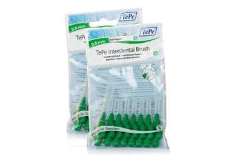 TEPE Interdental Brushes 0.8mm - 2 Packets of 8 (16 Brushes) Green