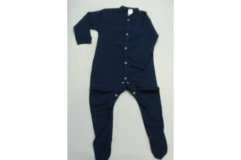 (6-12 months, Navy) - BabywearUK Sleepsuit - Navy - 6-12 months - British Made