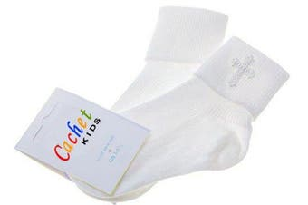 (0-2.5 (3 months - 12 months)) - Baby boys christening socks with a cross - white