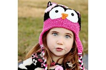 (Rose red+black) - Cute Baby Girl Boy Crochet Hat Kids Knit Handmade Cap (Rose red+black)