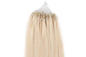 100S Loop Micro Ring Remy Human Hair Extension Platinum blonde 46cm /50g (#60)