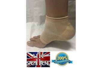 (Naural/Tan) - Heel Pain Relief Mosturising Padded Gel Socks (One Pair) (Pink/Blue/Natural) (Naural/Tan)