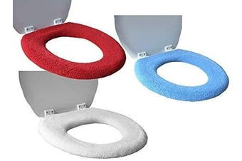 (2x Cream) - Toilet Seat Cover - Super Warm Fleece - Metal Retaining Ring - CHOOSE Cream or Red - Universal Fit - Machine Washable