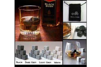(Dark Granite) - 9pcs Whisky Ice Stones Drinks Cooler Cubes Whiskey Scotch on The Rocks Granite - Colours Available: BLack; Light Granite; Dark Granite; White (Dark Granite)