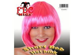 (Hot Pink) - Short Bob Babe Fancy Dress Wig Hot Pink