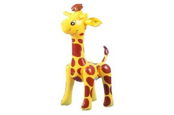 (Yellow with Dark) - Inflatable Blow-Up Giraffe Toy Party Favour---Yellow with Dark Red Spots