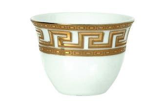 (Gold Greek Key) - Turkish Arabic Coffee Cups Gawa 90ml 80 cc - Set of 12 (Gold Greek Key)