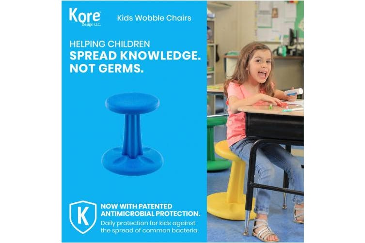 "(Kids (36cm  tall), Blue) - Kore Patented WOBBLE Chair, Made in the USA, Active Sitting for Toddler, Pre-School, Kids, and Teens; Kids don't have to sit still anymore - ""The BEST seat in any Classroom""! - Blue - Kids (36cm )"