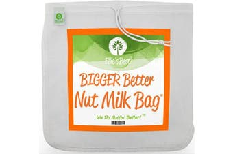 (1) - Pro Quality Nut Milk Bag - Big 30cm x 30cm Commercial Grade - Reusable Almond Milk Bag & All Purpose Food Strainer - Fine Mesh Nylon Cheesecloth & Cold Brew Coffee Filter - Free Recipes & Videos (1)