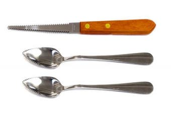 Set of 2 Grapefruit Spoons and 1 Grapefruit Knife, Stainless Steel, Serrated Edges