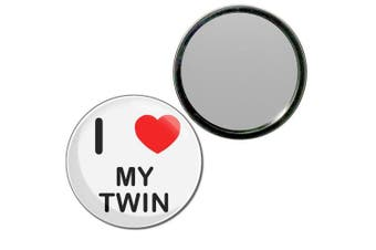 (55mm) - I Love My Twin - 55mm Round Compact Mirror